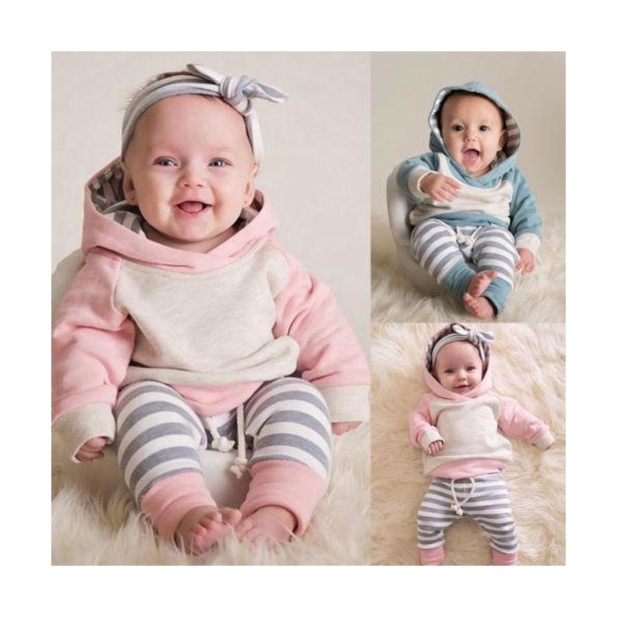 Newborn Baby Girls Clothes Long Sleeve Hooded Top Striped Pants Infant Playsuit Autumn Winter Outfits
