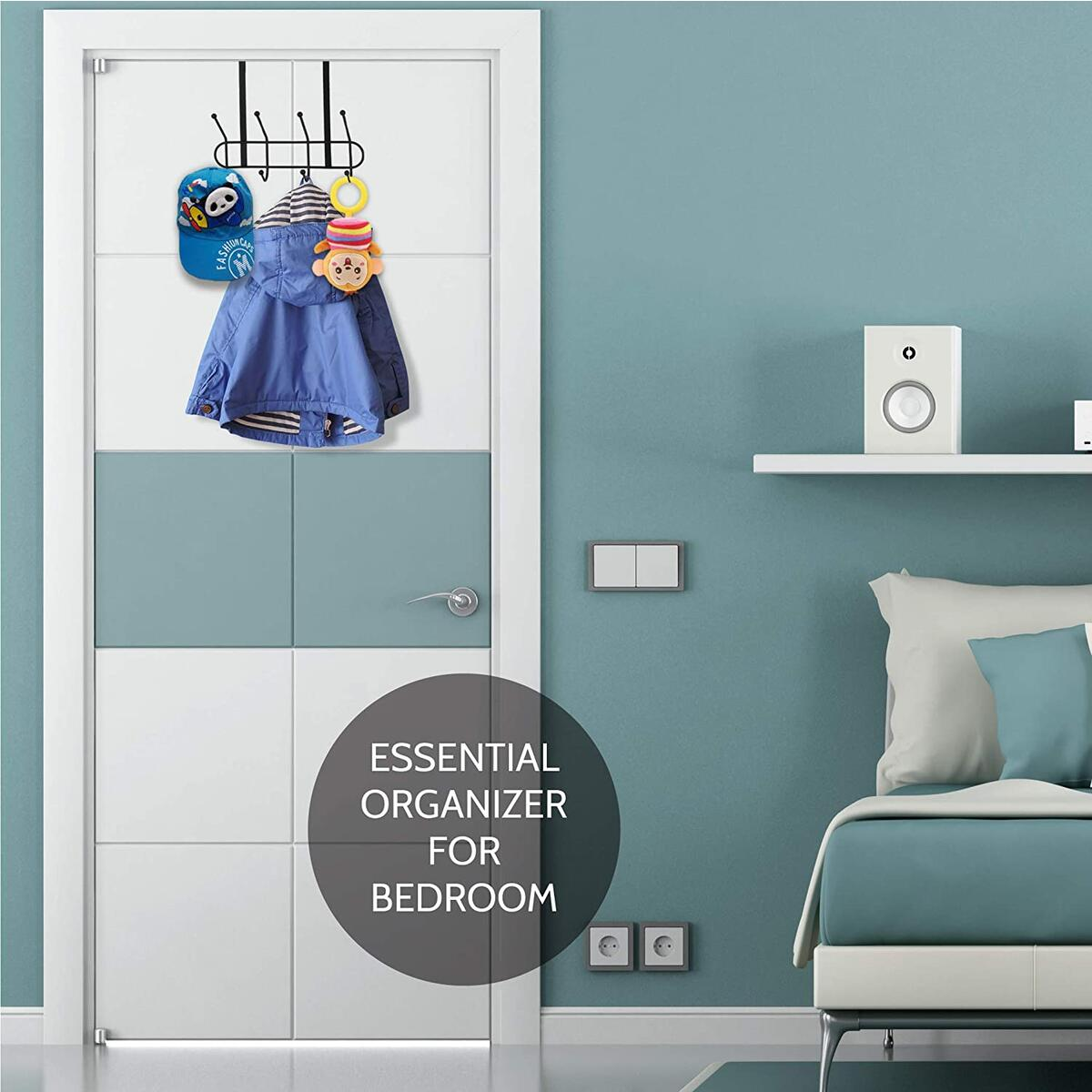 Over The Door Hook - Bathroom Over Door Hook Organizer - Storage Rack for Towels, Coats, Hats, Clothes - Heavy Duty 8 Hooks Hanger for Bedroom, Hallway, Dorm - Steel Coated No Installation No Screws