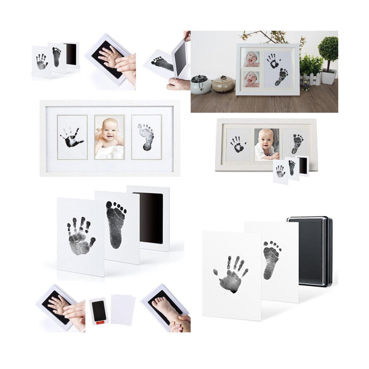 Newborn Baby Clean Touch Non-Toxic Ink Pad Handprint & Footprint Photo Frame Kit Unique Baby Shower Gift Set Bonus Premium Keepsake Clay Ornament Kit