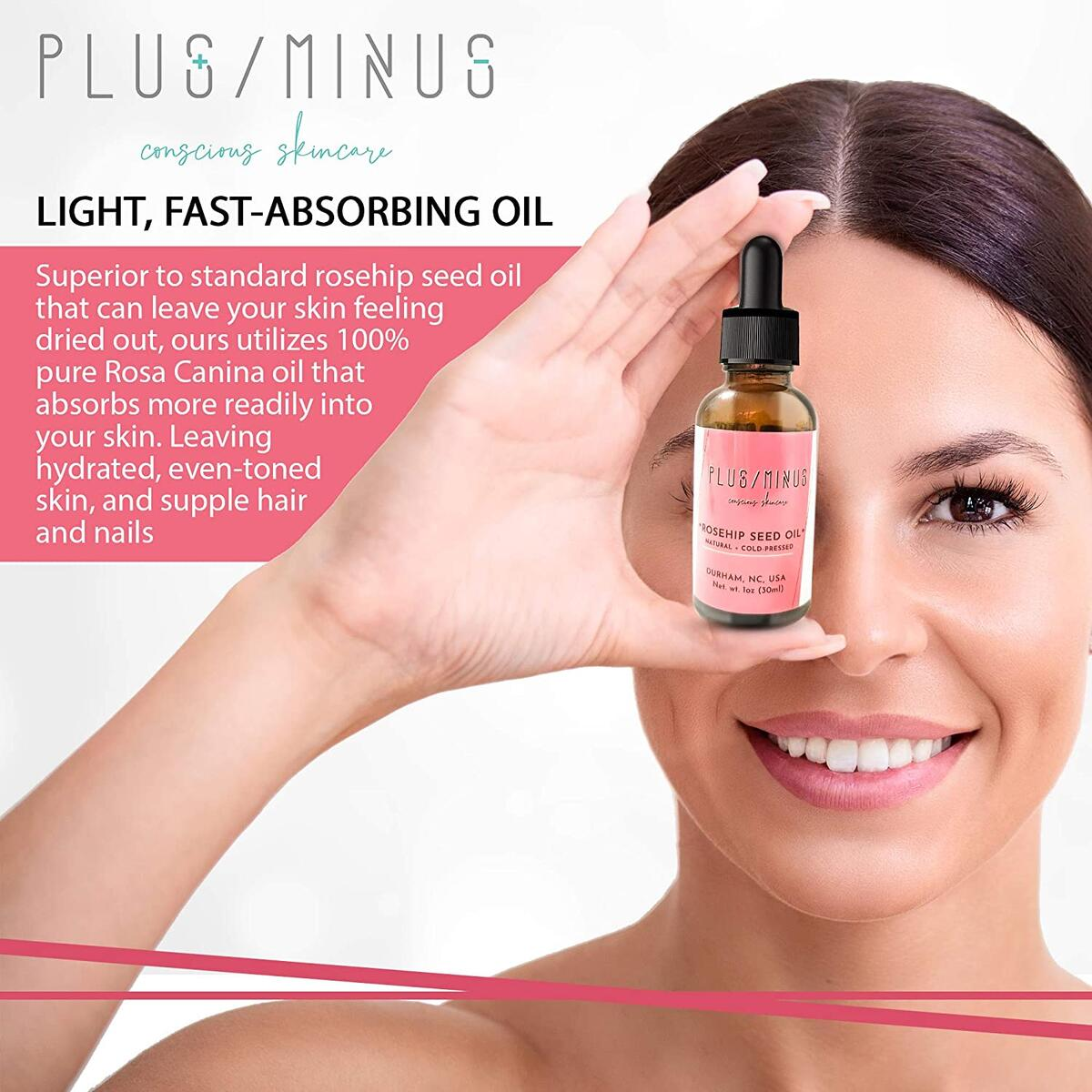 Plus/Minus Skincare Organic Rosehip Seed Oil, 1 fl. oz., All-Natural Antioxidant, 100% Pure, Cold Pressed and Unrefined Anti-Aging Face, Skin, Hair and Nail Care for Dry Spots and Wrinkles