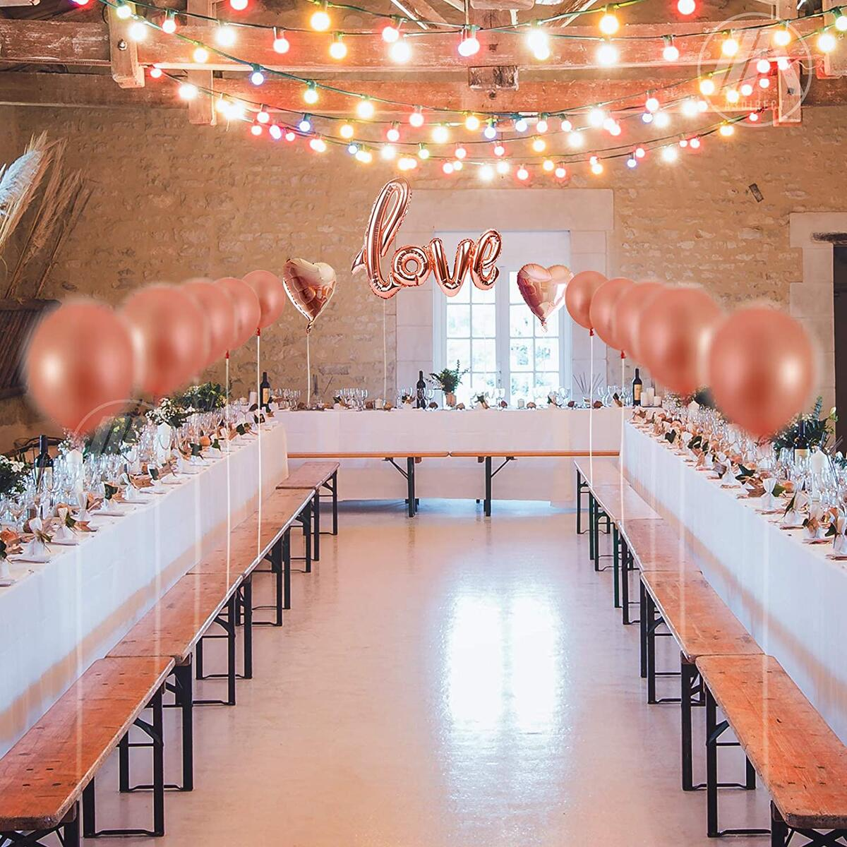 Bachelorette Party Decorations Rose Gold Love Balloons Set - Perfect for Bridal Shower, Wedding Decor and Engagement Parties Supplies - Large 32 Inch Mylar Letter Balloons Photo Booth Props