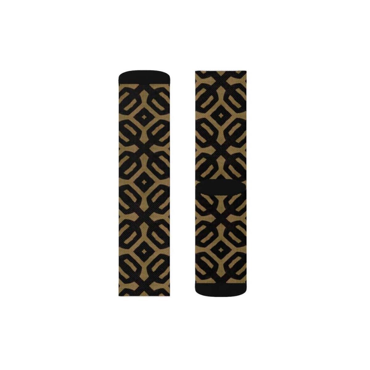 Brown Black Bogolan Sublimation Socks