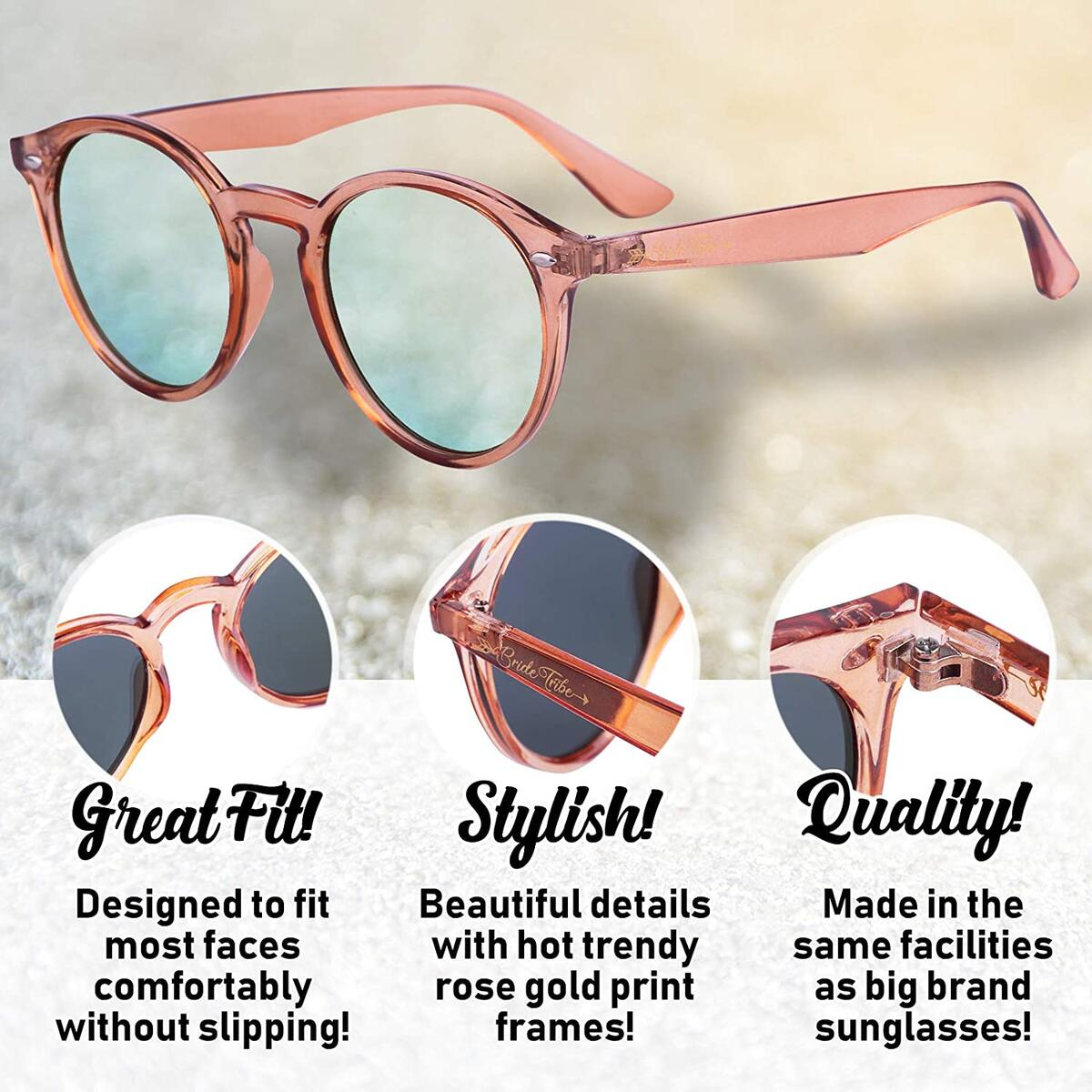 Bachelorette Party Sunglasses Bride Tribe Rose Gold Lens Glasses, Bridal Shower Gift and Favors - Instagram Bachelorette Party Decorations/Supplies (Single Pair)