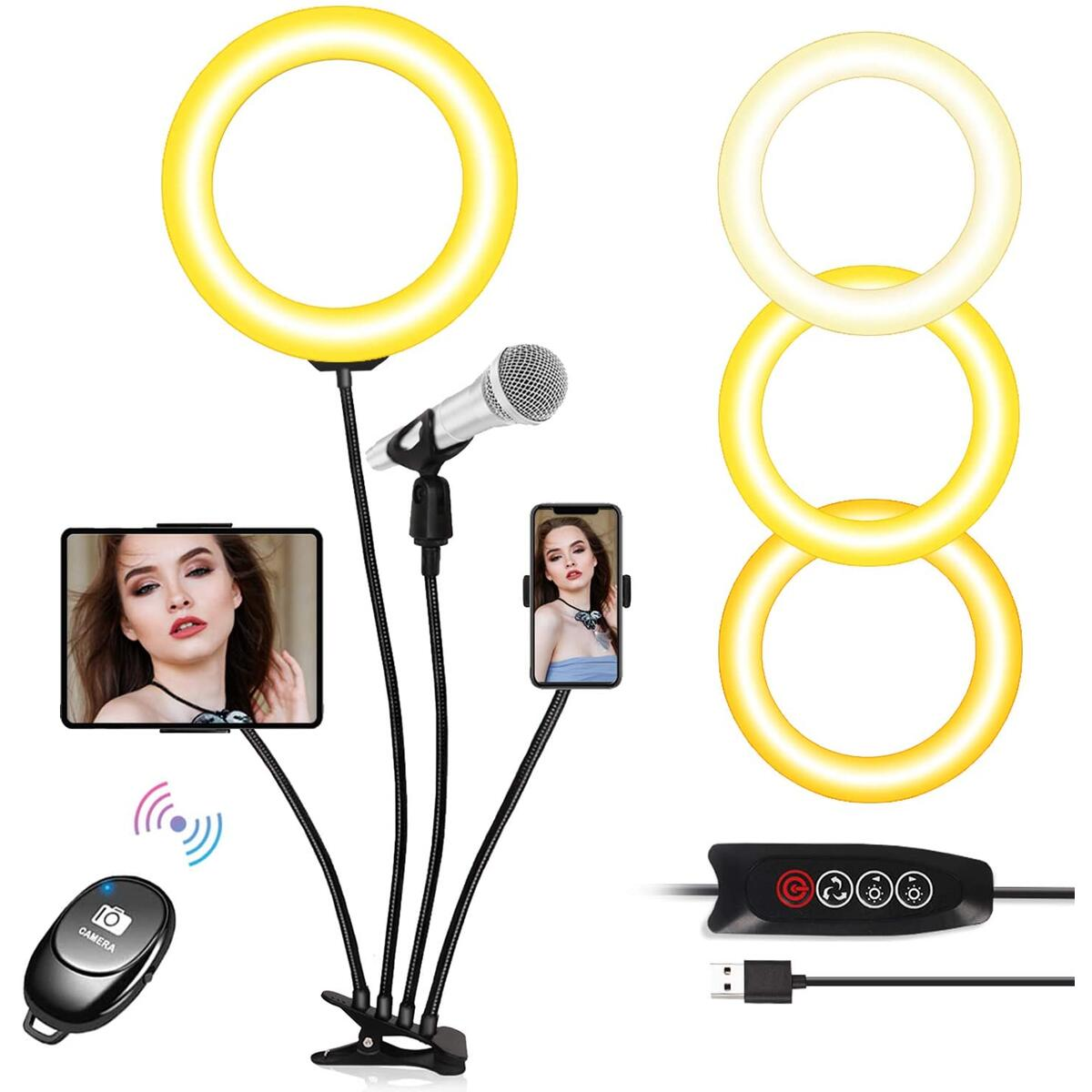 8'' Selfie Ring Light with Cellphone Holder Stand Remote Control, Dimmable Filming Selfire Ring Light for Photography/Video/Tiktok/Live-Stream/YouTube/iPhone Android with Tablet/Mic Holder by Sunrich