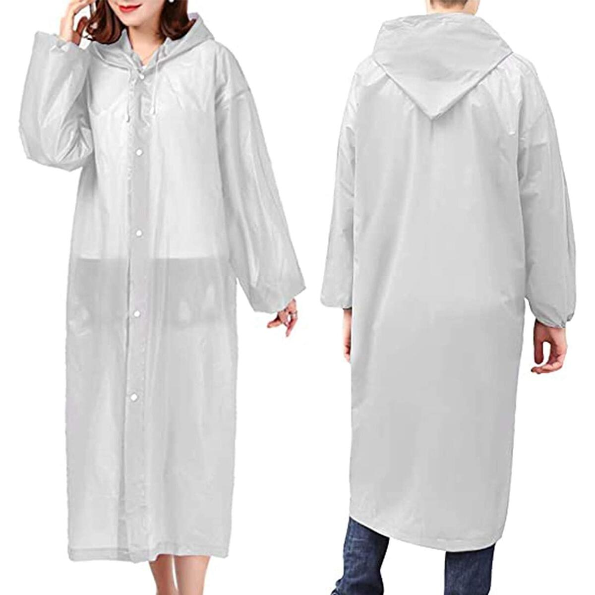 Rain Ponchos for Women Men Adults (2 Pack) Reusable Portable Rain Coat Jacket