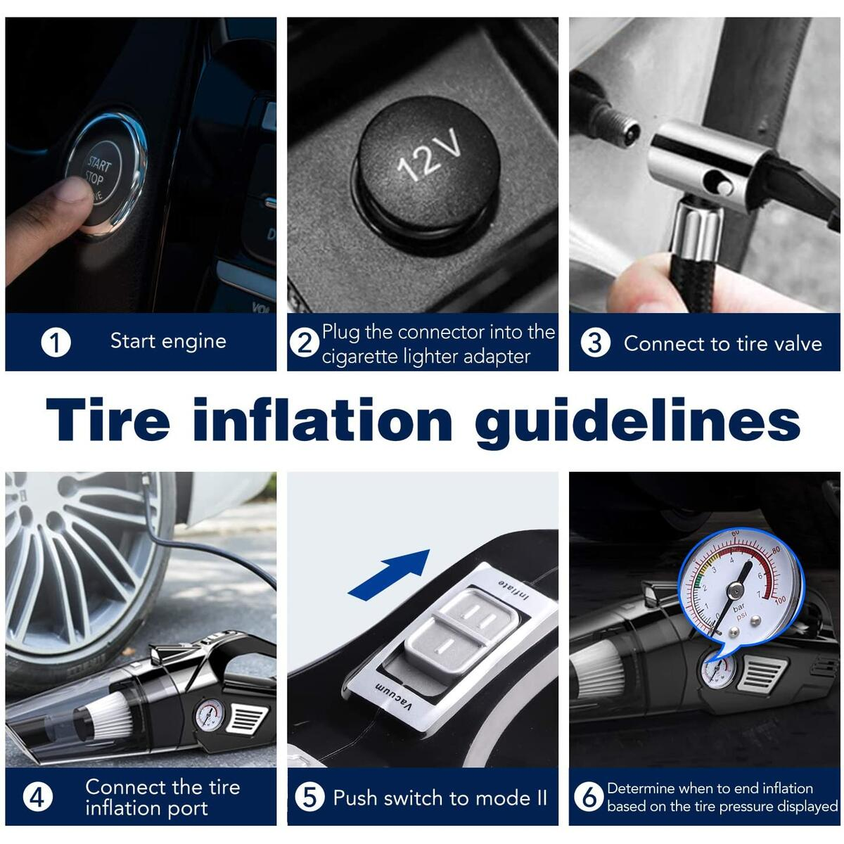 4 in 1 Air Compressor, Car Vacuum Cleaner, Multifunctional High Power 120W Air Compressor Tire inflator Handheld Car Vacuum High Power 5500PA Handheld Vacuum w/Light, 10 FT Power Cord, for Wet/Dry