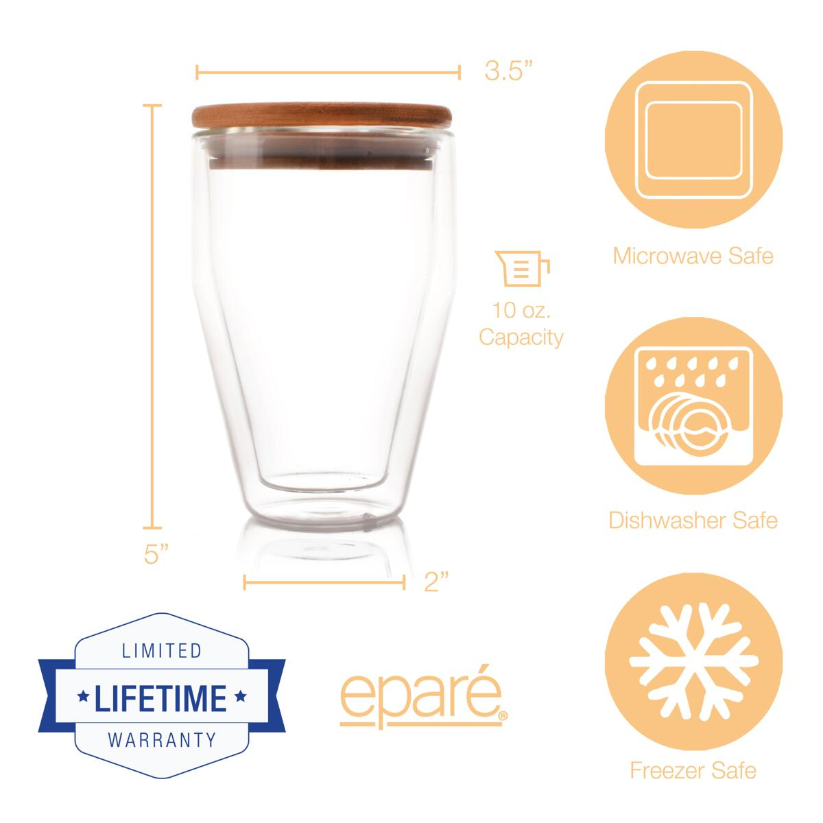 Eparé 10 oz Double-Wall Tumbler with Lid (Set of 2)