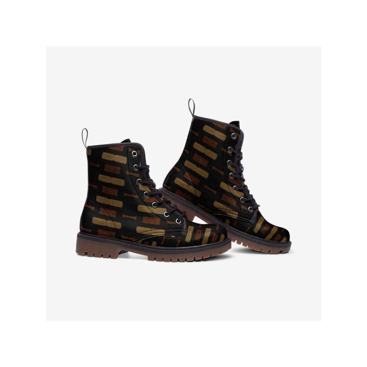Afrocentric Bogolan Leather Lightweight boots MT, 5.5 Women / Black