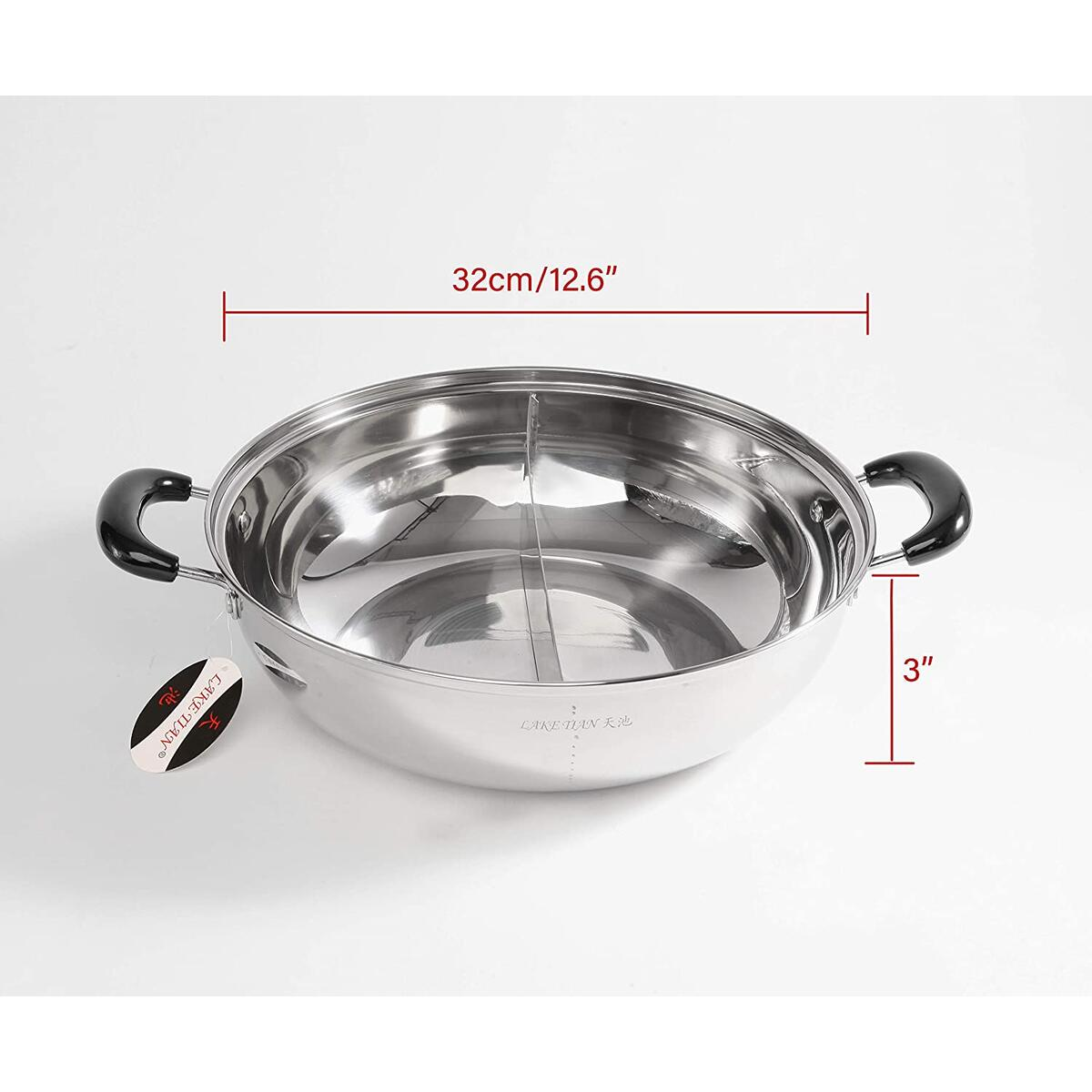 Stainless Steel Shabu Shabu Hot Pot, Dual Sided Yin Yang Hot Pot with Divider