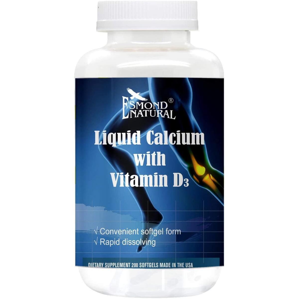 Esmond Natural: Liquid Calcium with Vitamin D3 (Rapid Dissolving), GMP, Natural Product Assn Certified, Made in USA-200 Softgels