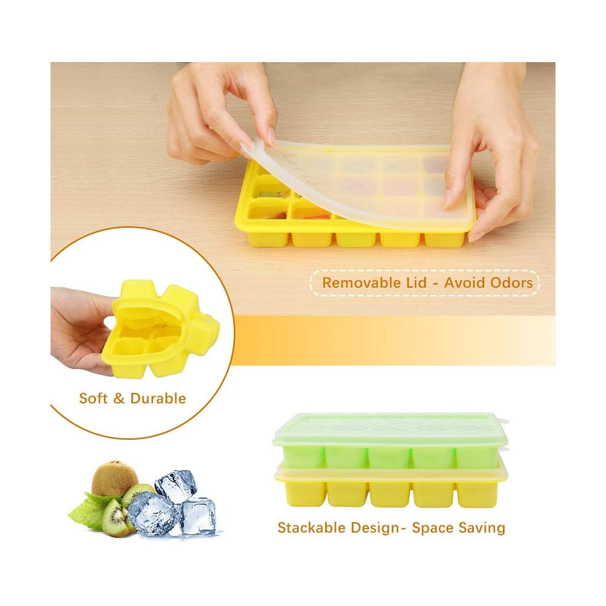 Ice Cube Trays - iYAFFA 6 Pack Silicone Ice Trays with Lid, BPA Free Flexible Easy Release, 90 Ice Cube Molds for Cocktails, Stackable, Dishwasher Safe