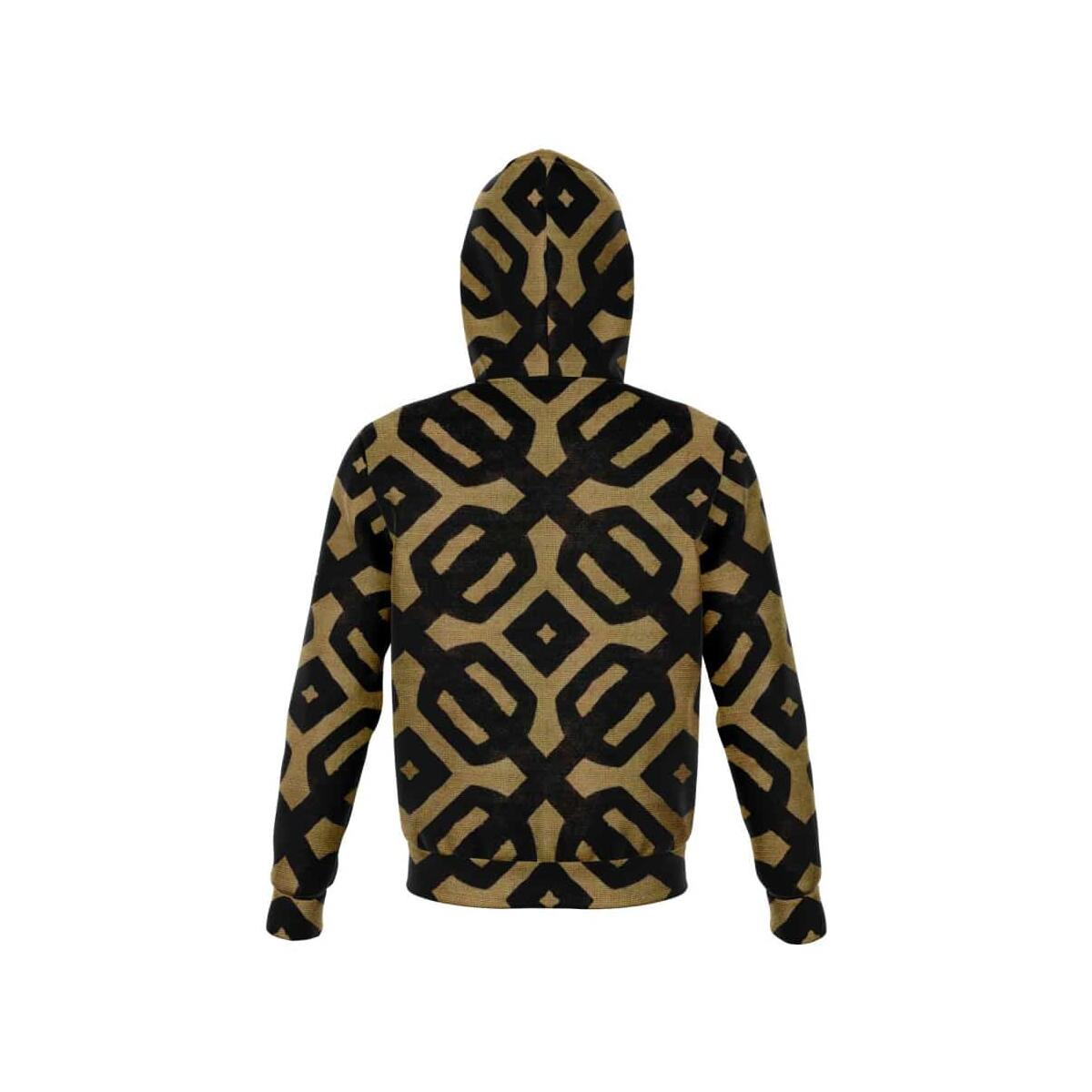 Brown Black Bogolan Zip-Up Hoodie