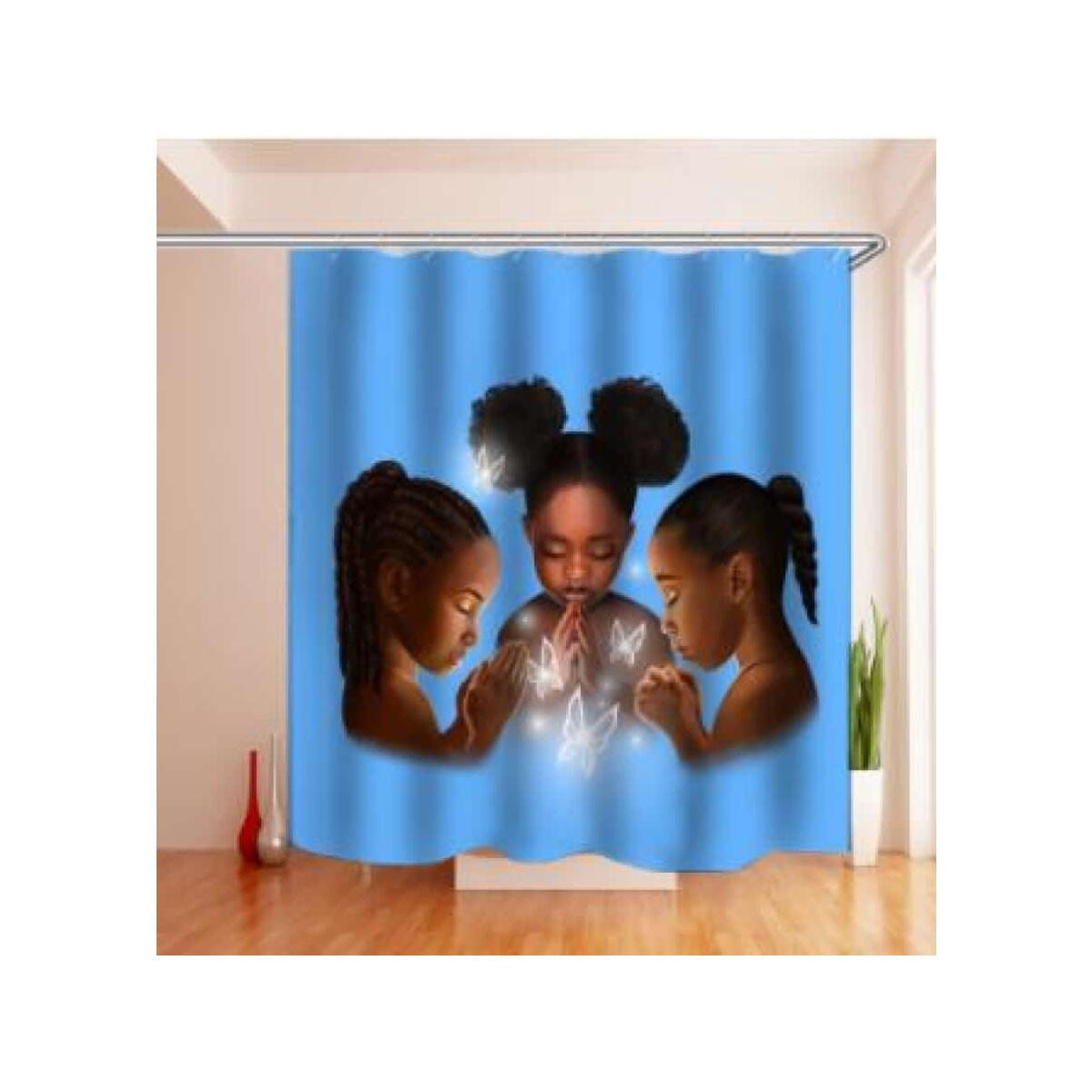 African American Shower Cutain Woman Abstract Print Waterproof Mildew Resistant Fabric Polyester, 180x200 / 5