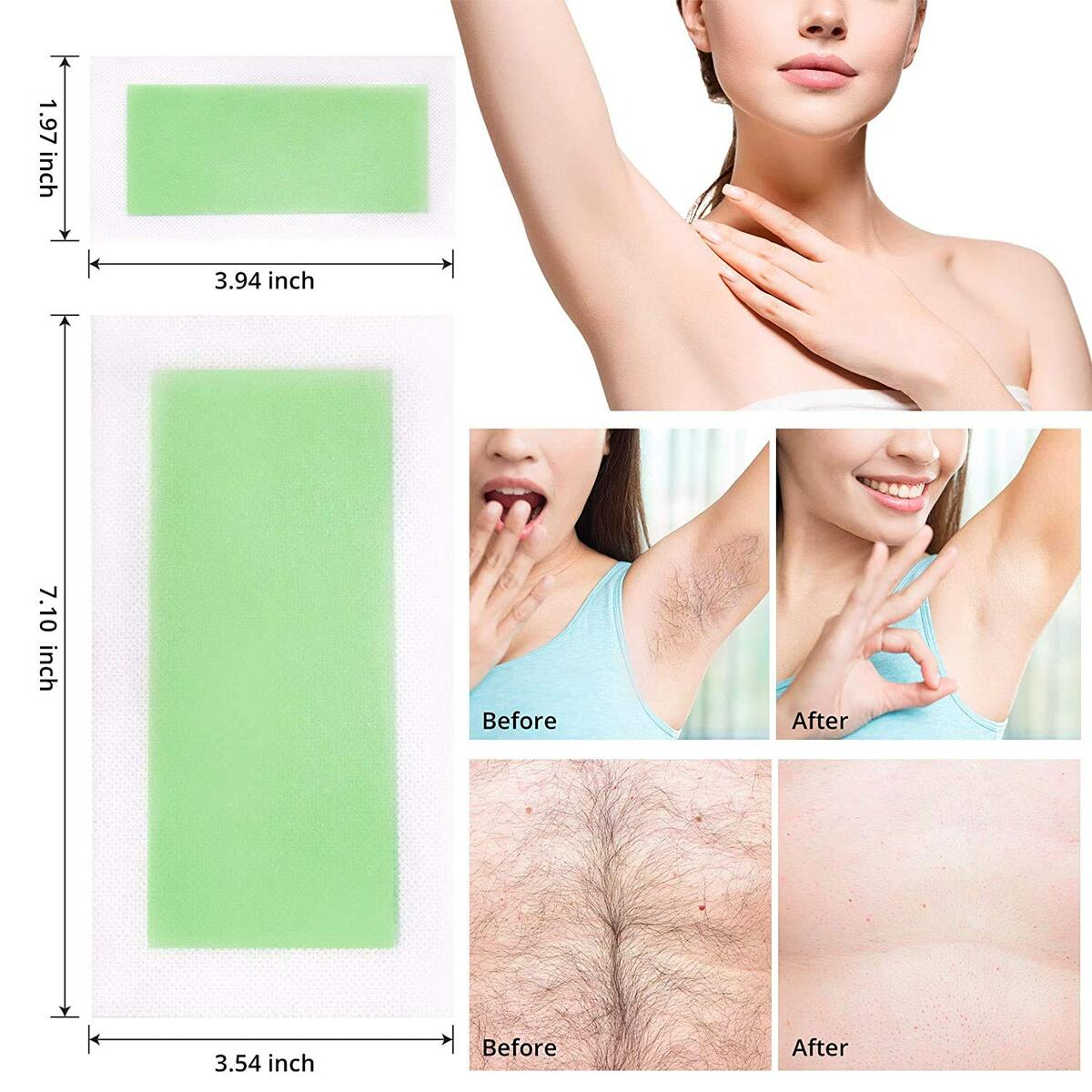 Wax Strips for Face, Arms, Legs, Underarm Hair, Eyebrow, Bikini, and Brazilian Hair Removal Contains72 Strips