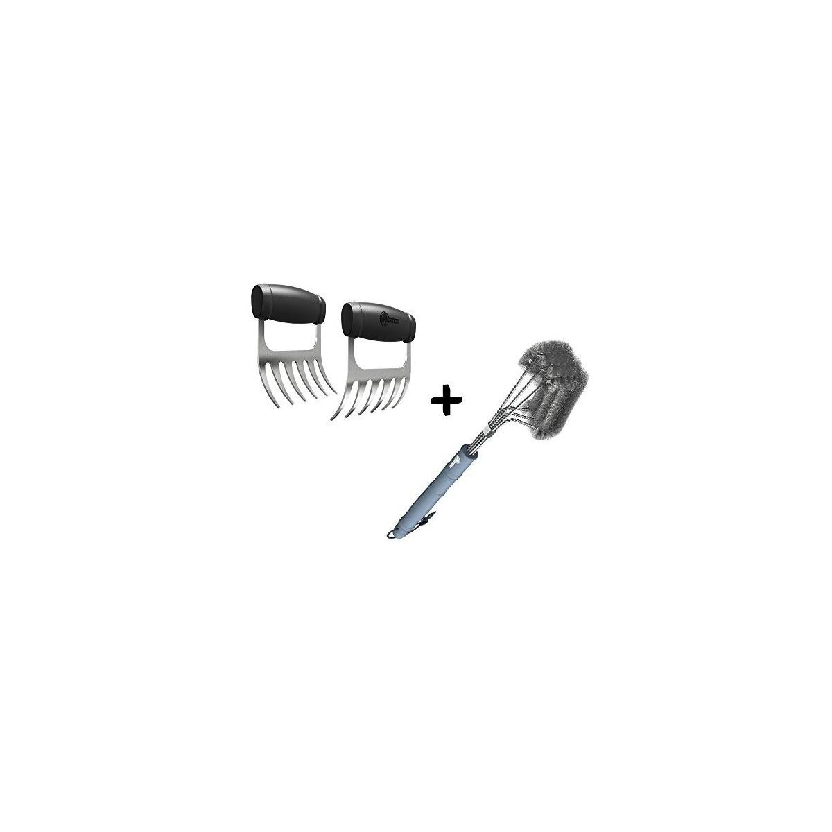 Meat Claws - Stainless Steel Pulled Pork SHREDDERS + BBQ Grill Brush - 100% Rust Proof Design - Wire Bristle with Strength Clip for Cleaning Char Broil Weber Porcelain and Infrared Barbecue Grates