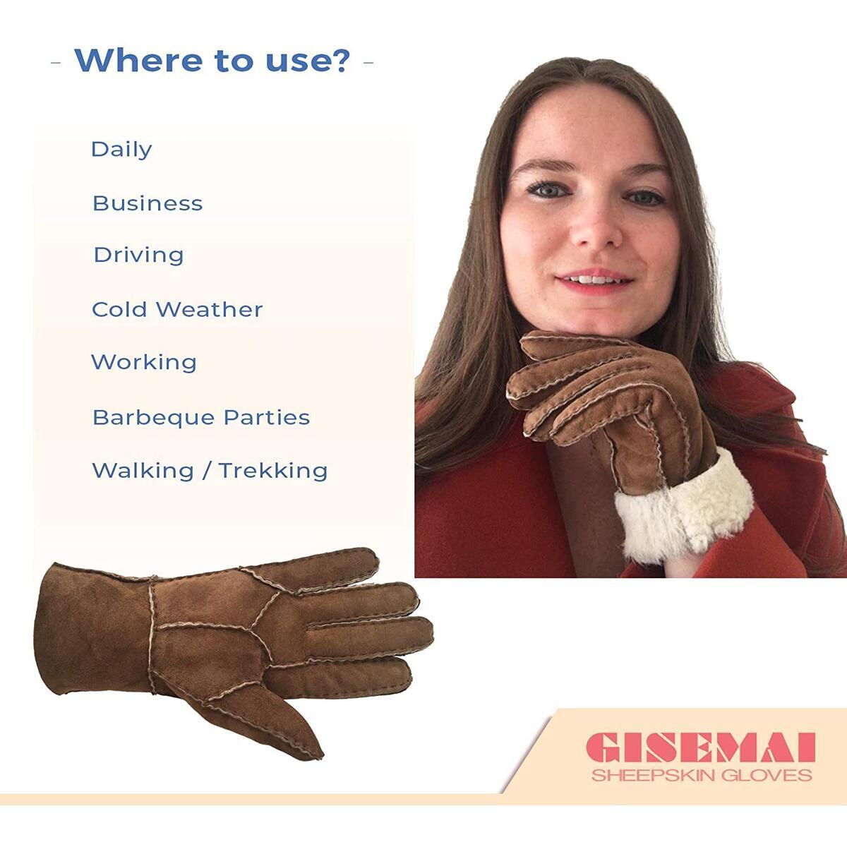 Genuine Shearling Sheepskin Fur Lined Leather Gloves | Unisex Small Winter Gloves | Cold Weather Work, Driving Glove