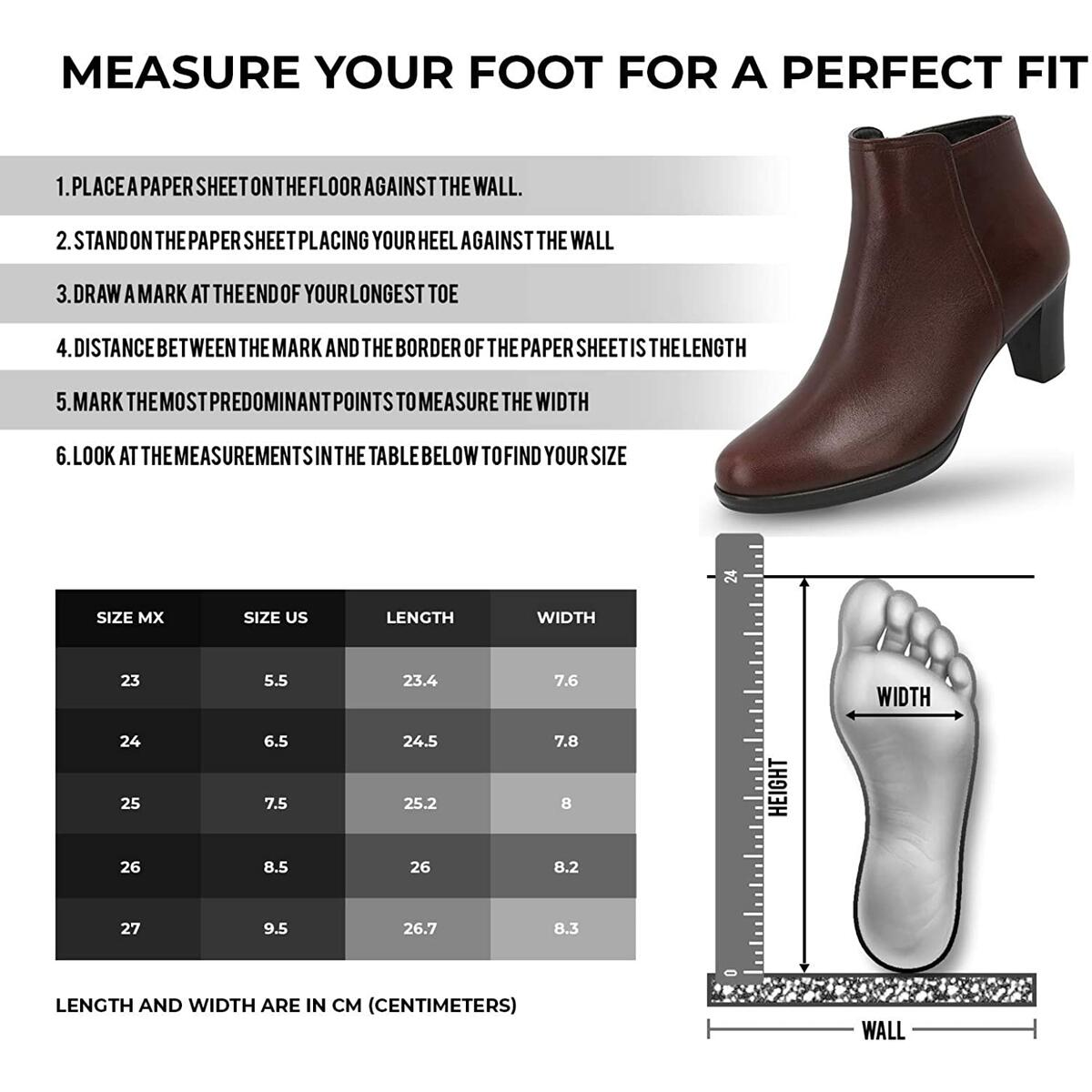 MANET Leather Booties for Women - Women's Heeled Ankle Boots Classic Bootie with Heel - Maya Boot (Color Brown only, all sizes).