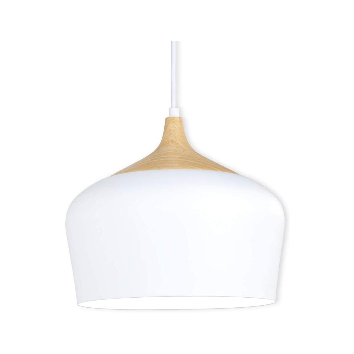 Karmiqi Modern Pendant Light, Bulb Included, Wood Pattern Ceiling Light Fixtures with Metal Shade, Hanging Light for Kitchen, Dining Room, Living Rooms, Hallway(White)