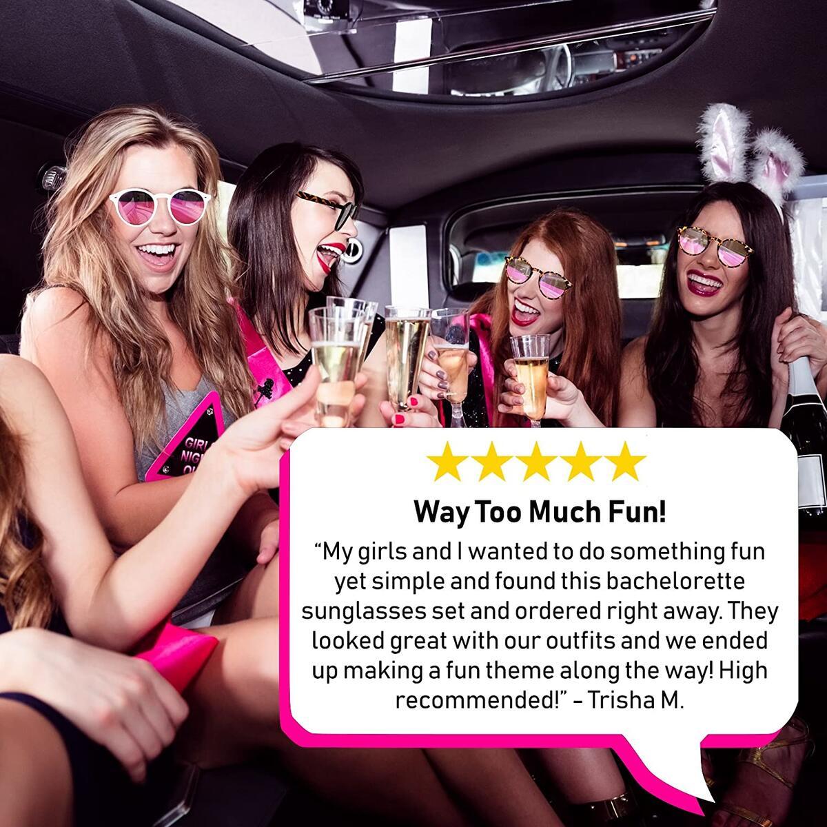 Bachelorette Party Sunglasses for Bride Tribe - 7 Bridal Party Pink Lens Glasses, Bridesmaids Favors, Instagram Bachelorette Party Decorations (Single Pair)