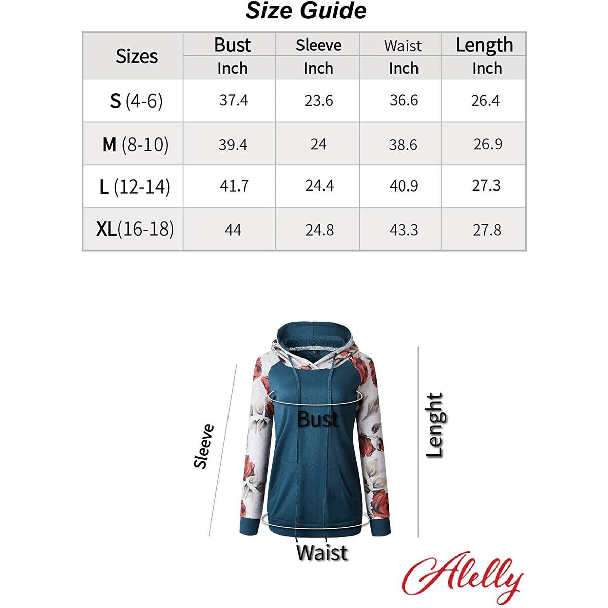 Alelly Women's Pullover Long Sleeve Stitching Casual Hooded Sweatshirt Pocket