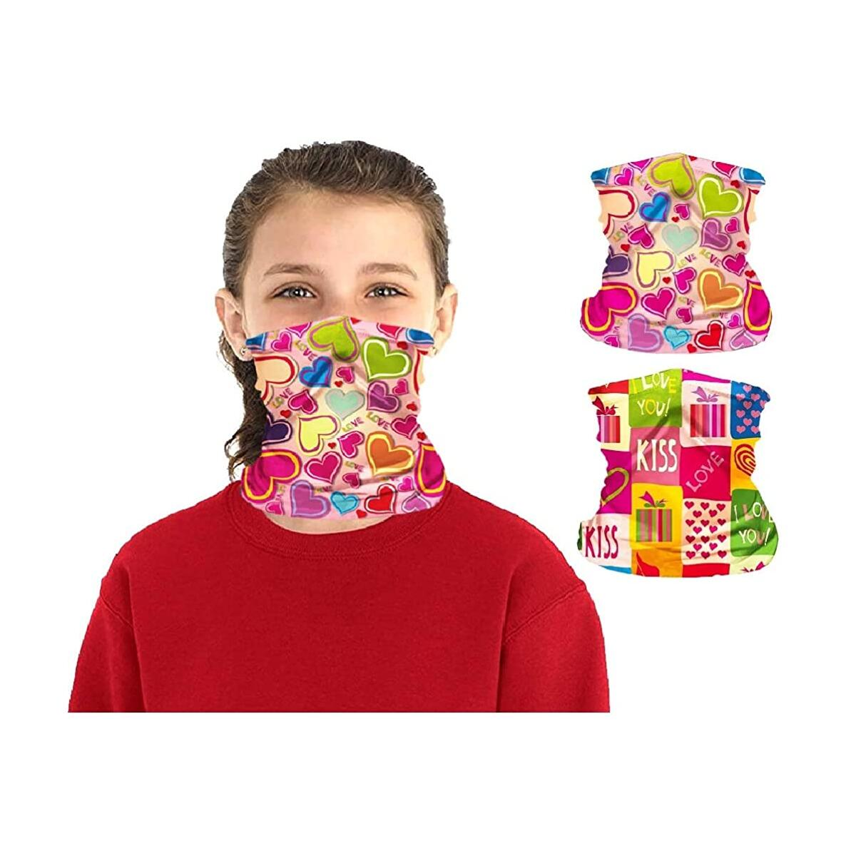 2 Packs Kids UV Protection Face Cover Neck Gaiter for Cycling Hiking Sport Outdoor 4-12 Years Girls Boys