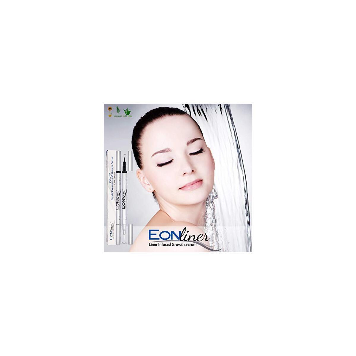 Dual Tip Liquid Eyeliner and Eyebrow Enhancer - Long Lasting   Super Slim   Ultra-Fine Felt Tip Liquid Pen Waterproof Smudge Proof Perfect Makeup, Quick Drying Formula with Eyelash Growth Serum