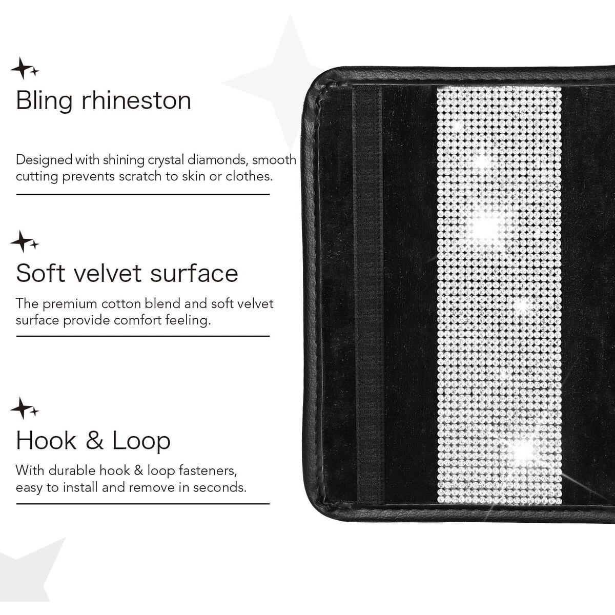 HOUSE DAY Diamond Car Seat Straps Shoulder Pads Super Soft Seat Belt Covers Crystal Rhinestone Car Bling Ring Emblem Sticker Crystal Diamond Car Decor Accessories (Set1)