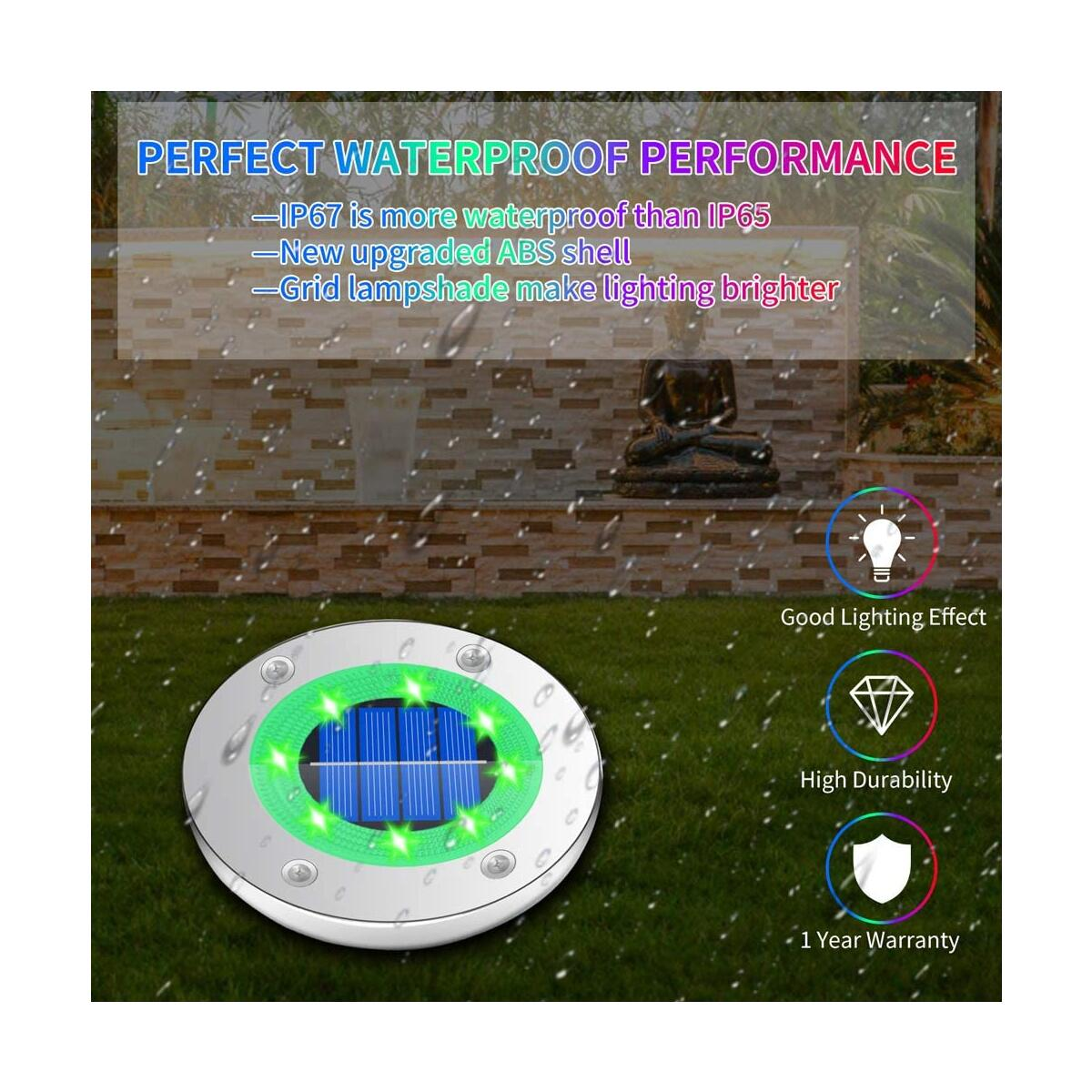 Solar Ground Lights Outdoor,8 LED Yard Solar in-Garden Lights IP67 Waterproof Solar Disk Lights 6000K Color Changing Walkway Landscape Lighting for Pathway Garden Lawn Patio(4 Pack)