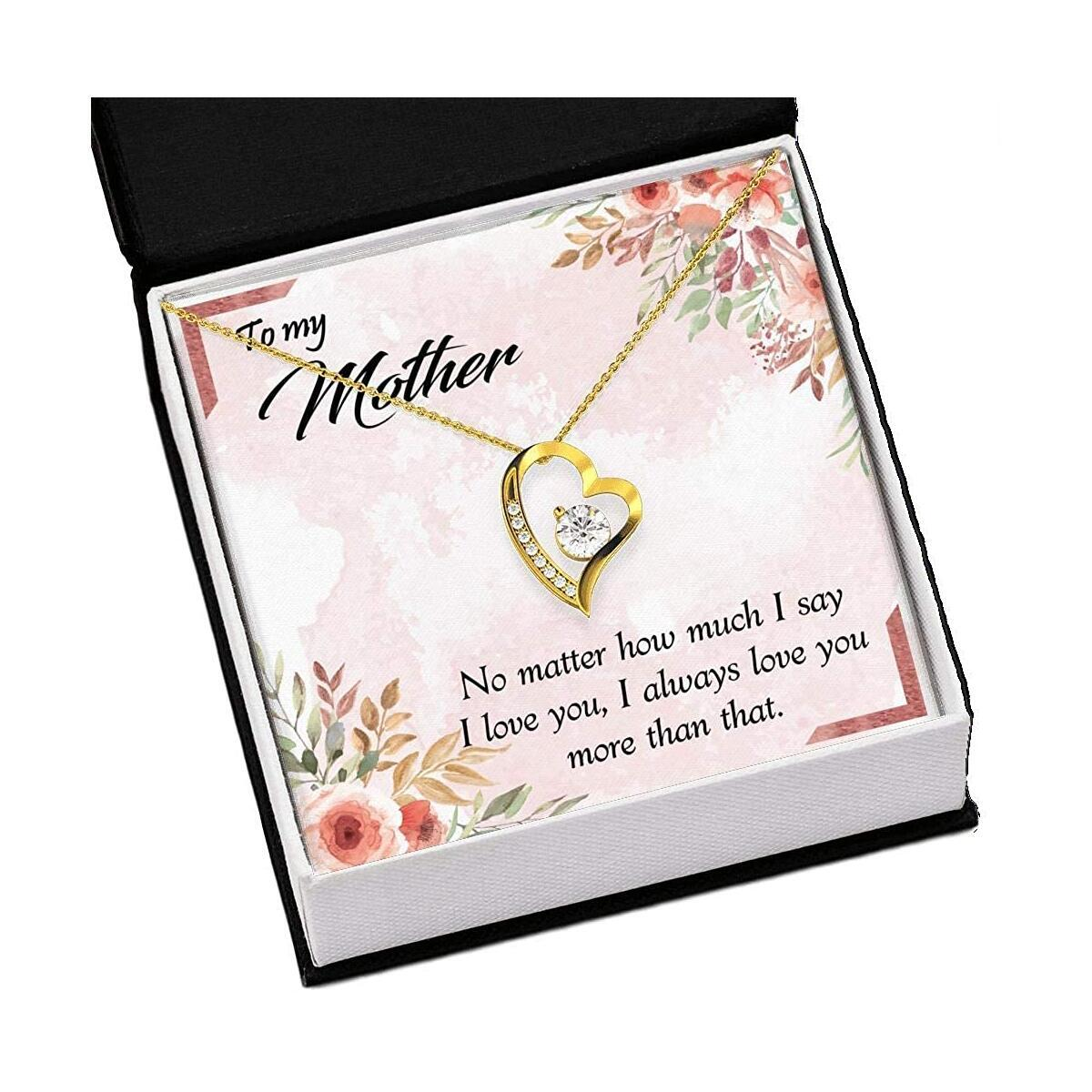 Happy Birthday to Mom Gift, Heart Necklace with A Message Card