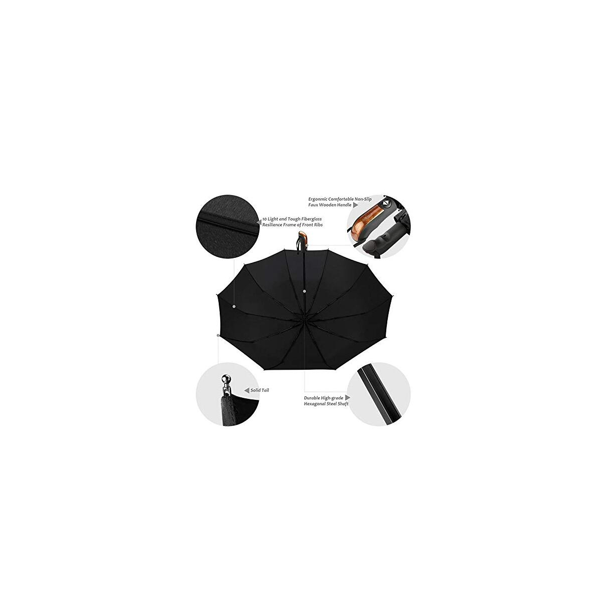 JONAKI Premium Quality Unique Design Umbrella - 10 Ribs 23 Inches - User-Friendly Portable, Lightweight Automatic Travel Reinforced Canopy Umbrella