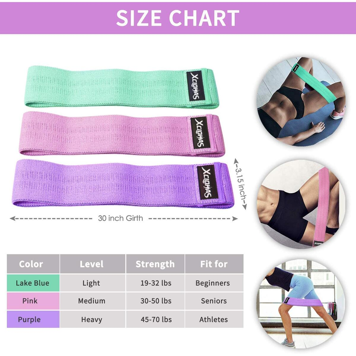 XCLOHAS Resistance Bands for Legs and Butt Thick Wide Non Slip Fabric Booty Bands Hip Exercise Bands for Women Squat Glute Hip Training with 3 Levels
