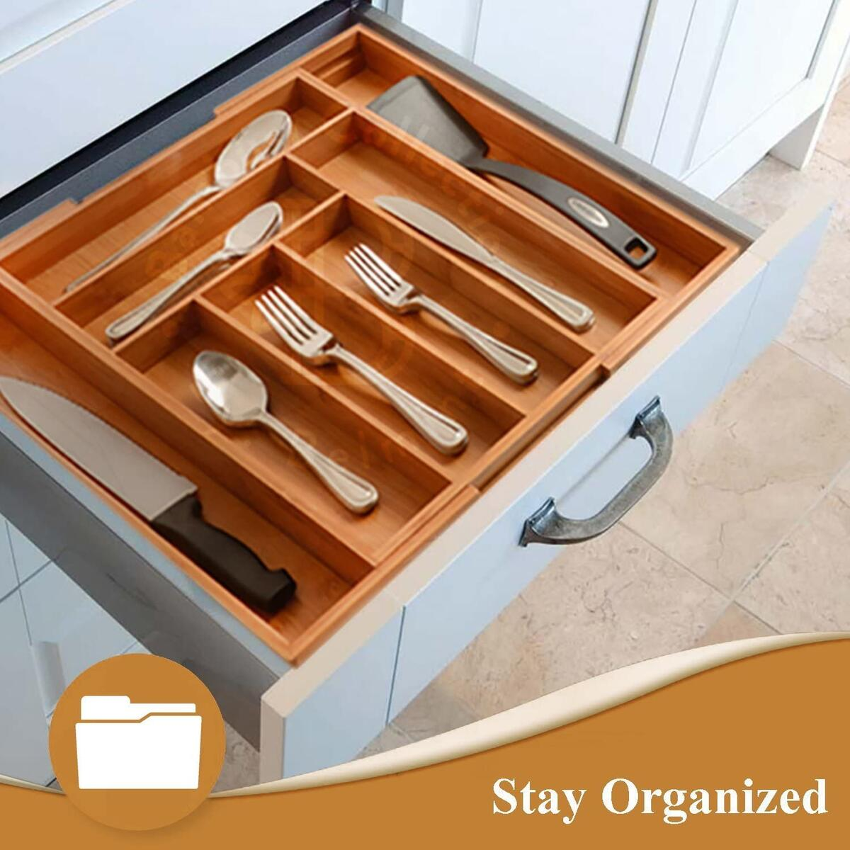 Expandable Kitchen Drawer Organizer - 8 Slots Bamboo Utensil Silverware Holder Drawer Dividers - Cutlery Tray Silverware Organizer for Flatware and Kitchen Utensils