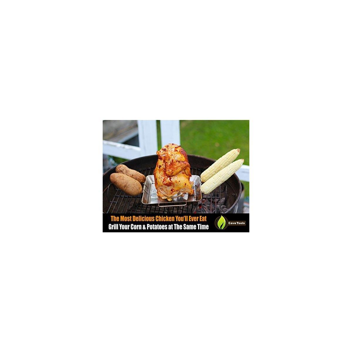 Beer Can Chicken Holder Rack + Pulled Pork Shredder Claws - Strongest BBQ Meat Forks - Shredding Handling & Carving Food - Claw Handler Set for Pulling Brisket from Grill Smoker or Slow Cooker