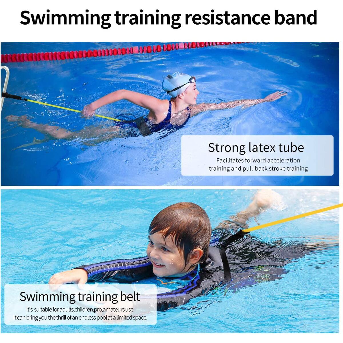 Swim Training Belt Tether Swimming Leash Bungee Cords 4M Swim Stationary Pool Resistance Bands Swim Harness Static Belt for Adult Kids