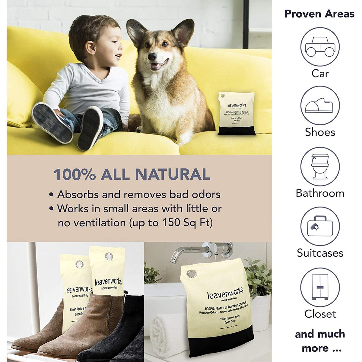 Leavenworks | Air Purifying Bags | Pet Friendly | Activated Charcoal Bags Odor Absorber | Deodorizers for Home | Charcoal Odor Absorber | Car Air Freshener | Charcoal Filters for Shoe | Variety of 8 Bags