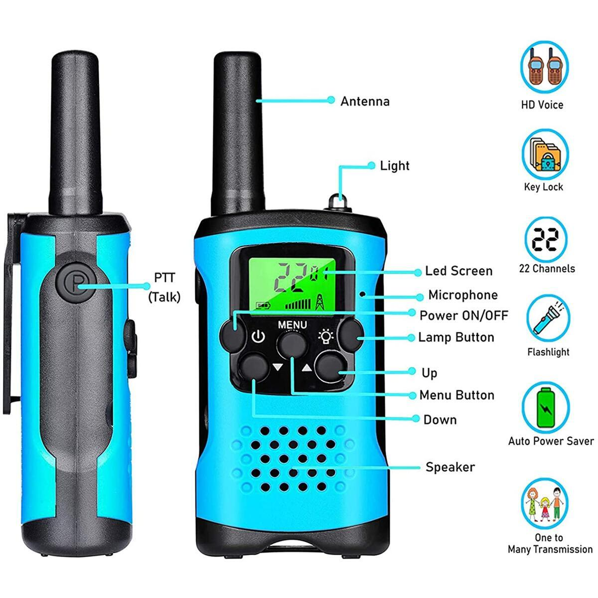 Ahtandy Walkie Talkies for Kids,22 Channel Kids Walkie Talkies Toys, Prevent Children's Myopia and Away from Electronic Games,Gifts for Kids Adventure Gear to Camping, Games, Hiking(Blue, 2 Pack)