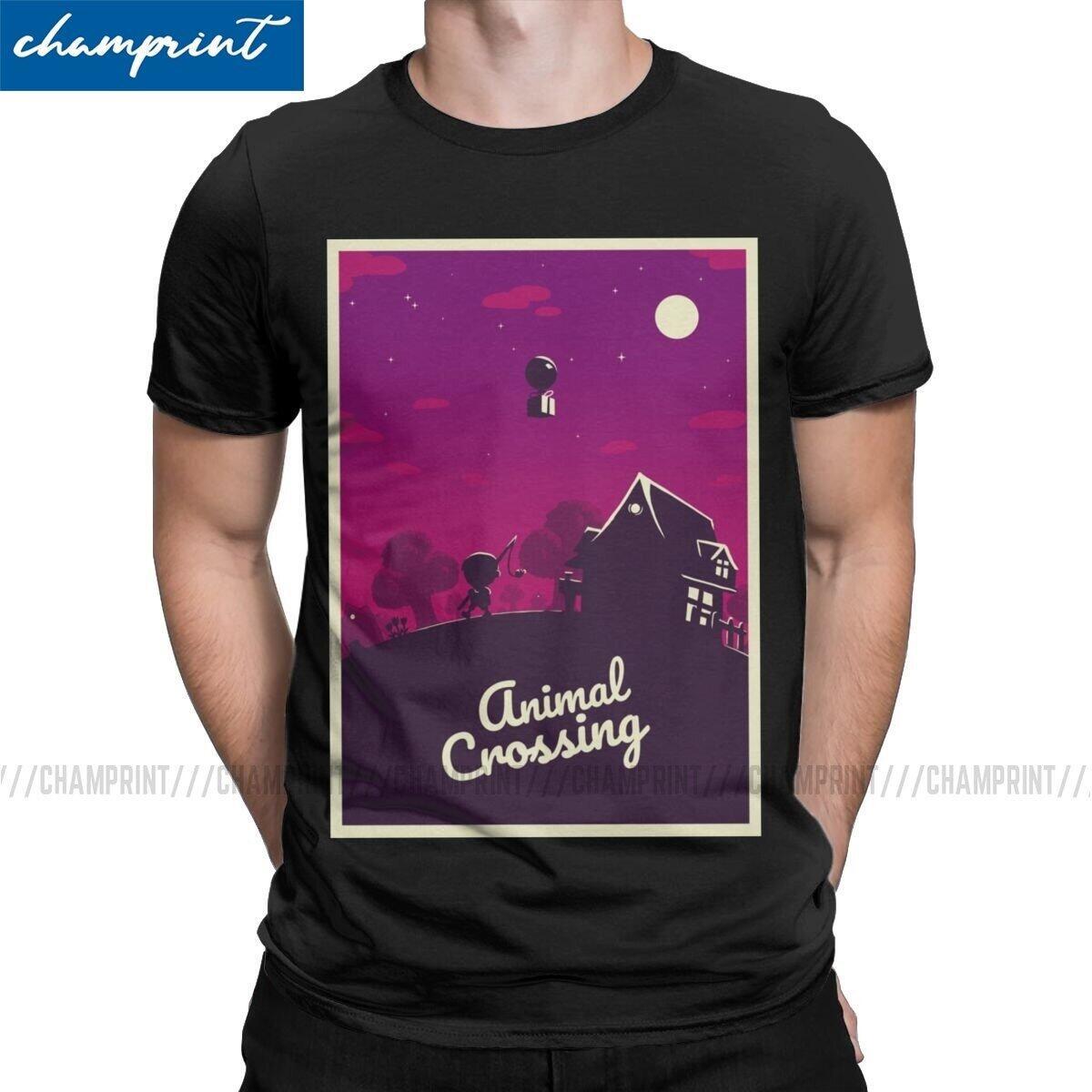 Animal Crossing Postcard Aesthetic Shirt, Black / XXL