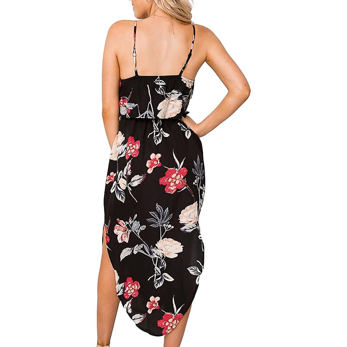 Alelly Women's Summer Boho Dress Spaghetti Strap Floral Printed Backless Split Beach Dress