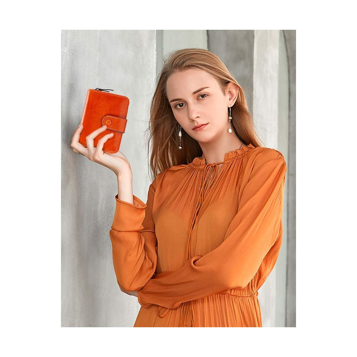 LUCKYSGY Wallets for Women RFID Blocking Leather Bifold Small Wallet Zipper Purses Card Holder with ID Window E150 Orange