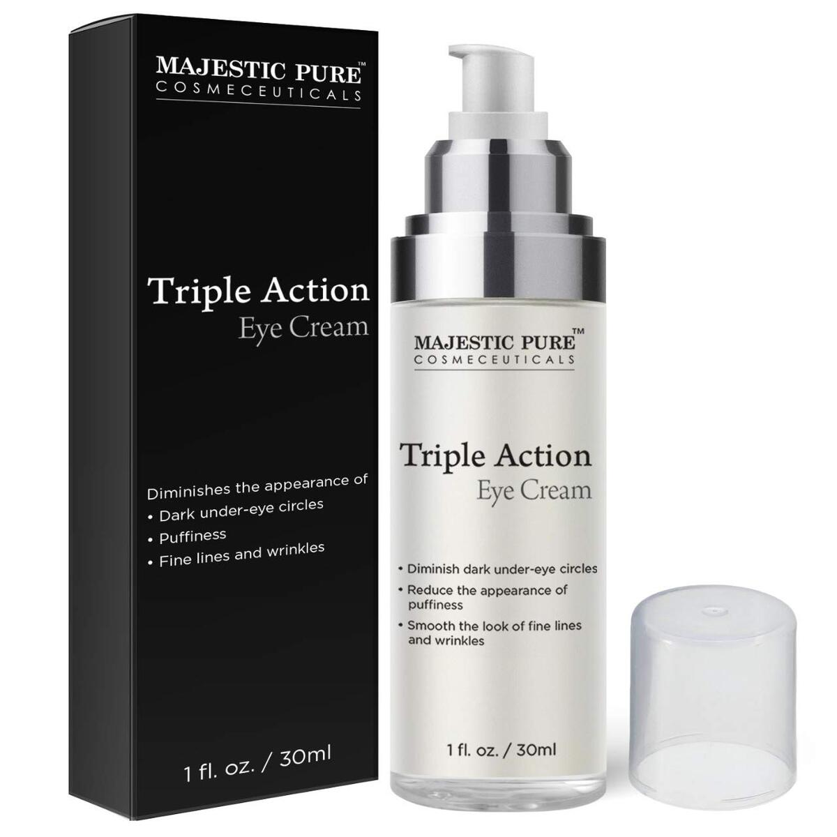 Triple Action Eye Cream by Majestic Pure - with Vitamin K - Eye Gel Cream Reduces the Appearance of Wrinkles, Dark Circles, Puffiness and Under Eye Bags - 1 fl oz