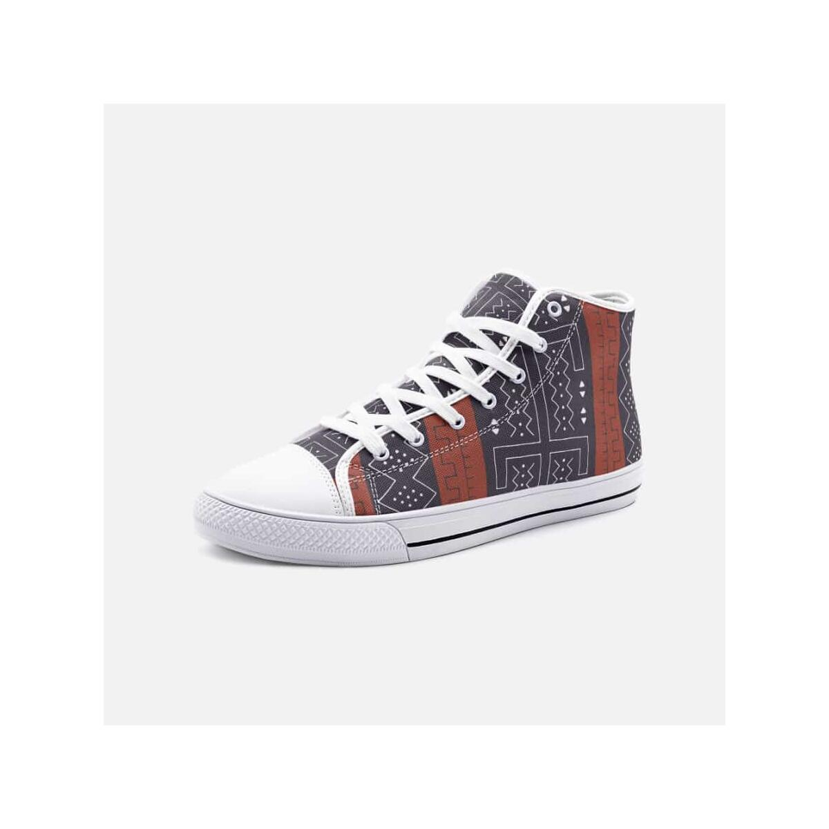 African Bogolan Mud Cloth unisex high top canvas shoes, 6 Women / White