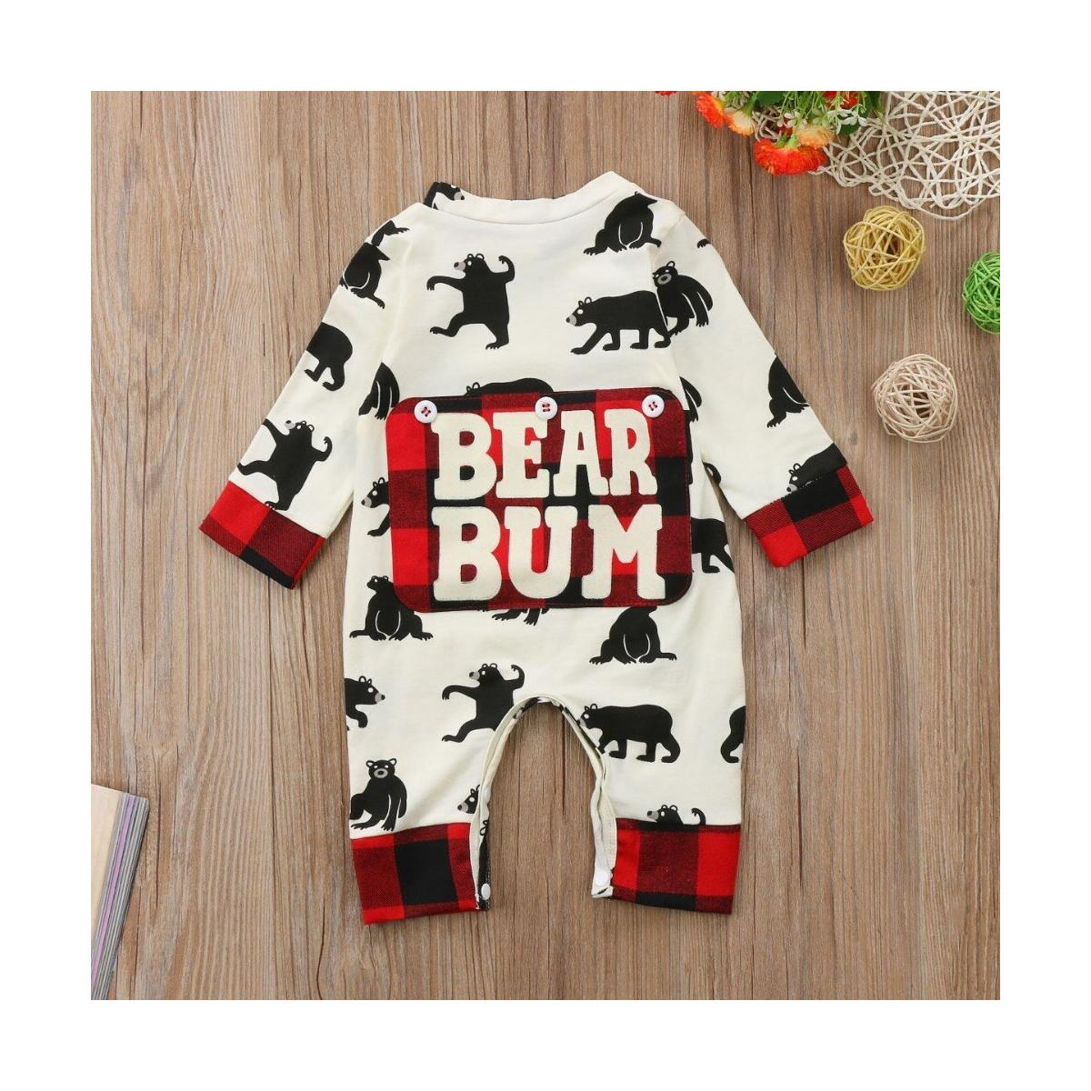 Baby Romper Kid Jumpsuit Cute Autumn WinterOutfits Cotton Outfits Cartoon Bear Bodysuits One-Pieces Print Bear Bum Warm Clothes