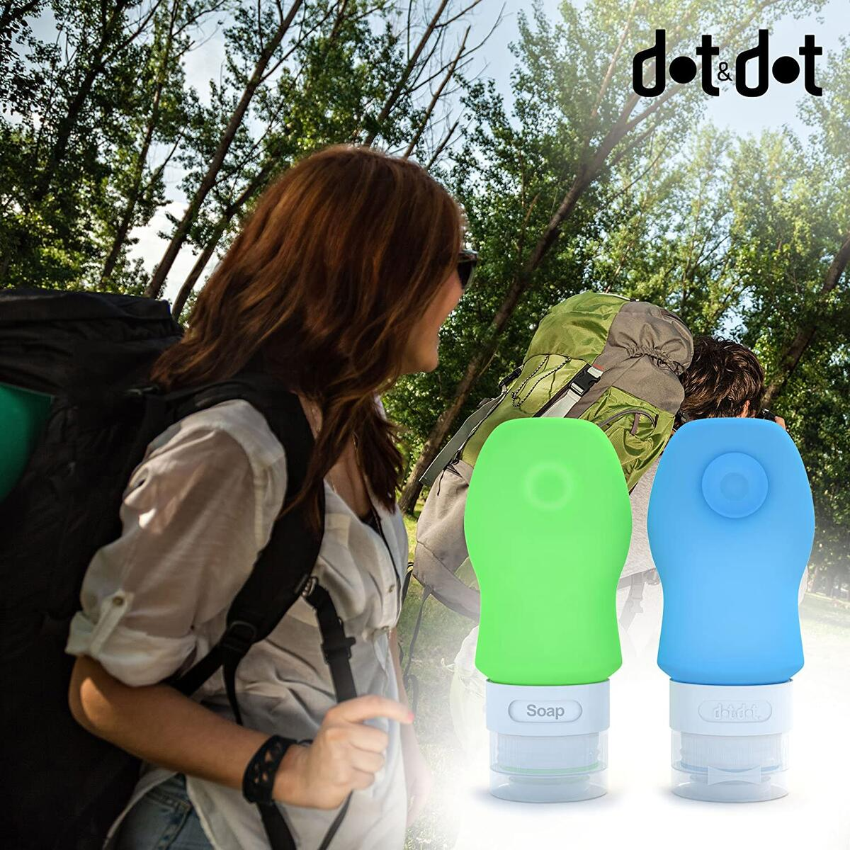 Dot&Dot Travel Bottles - 4 Piece Set of 2 oz Leak Proof Travel Containers for Travel Size Toiletries