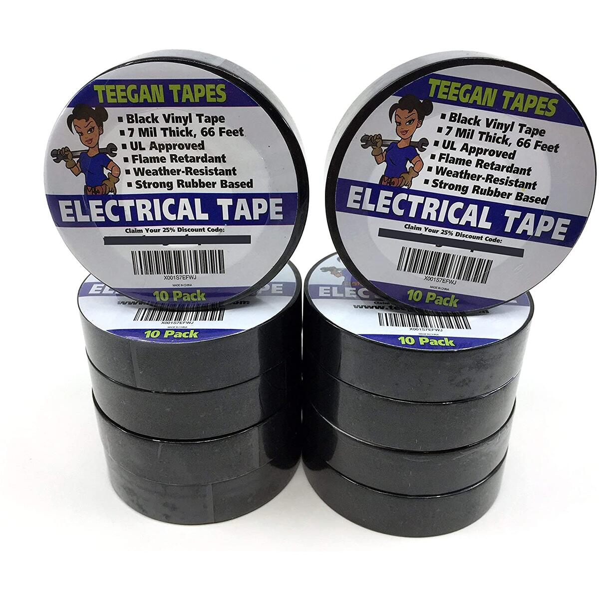 Black Electrical Tape - Black Vinyl Electric Tape (10 Pack) | 7 mil Thick Vinyl Tape 3/4 Inch Wide 66 Foot Long Roll | Strong Rubber Base | Flame Retardant, Temperature & Weather Resistant (Black)