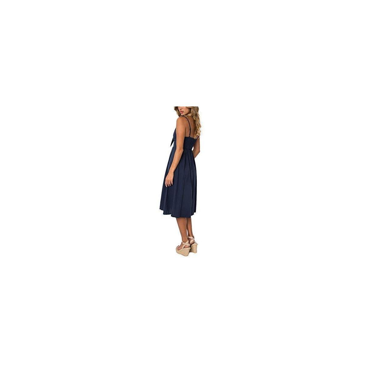 Women's Summer Dresses V-Neck Spaghetti Strap Button Down Tie Front A-Line Backless Swing Midi Dress