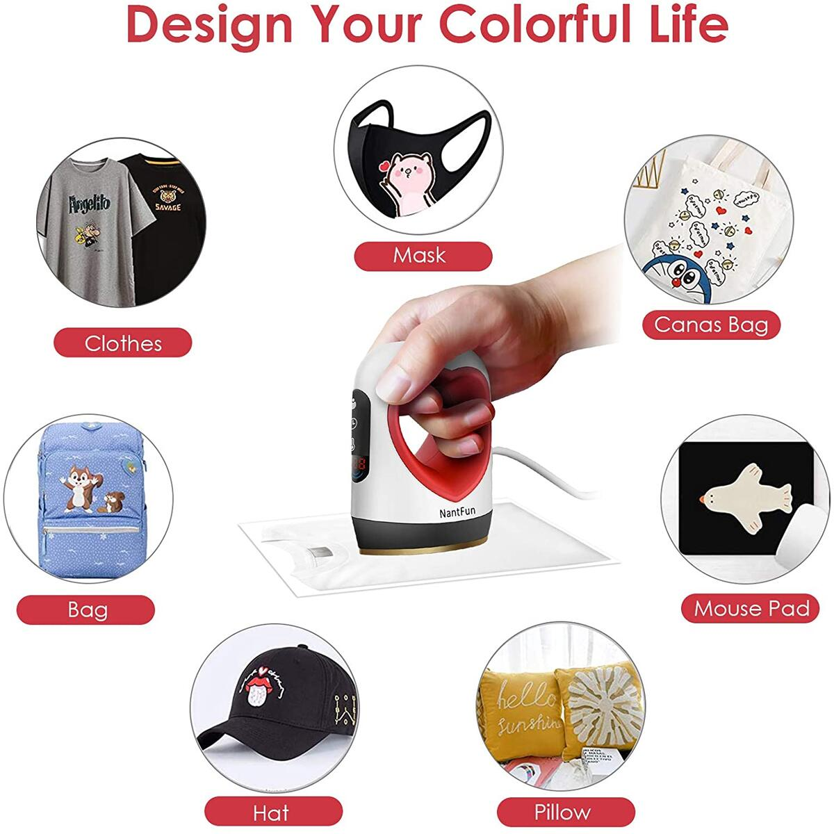 TTLIFE Mini Heat Press Machine with Digital Display Easy for T Shirts Shoes Hats and Small HTV Vinyl Projects, 2 Modes (Simple/Professional), Temperature Range 284℉~410℉, Timing Setting (Red)