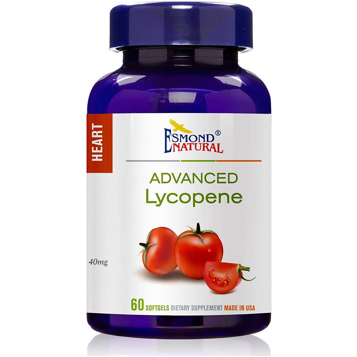 Esmond Natural: Advanced Lycopene (Supports Prostate and Hearth Health), GMP, Natural Product Assn Certified, Made in USA-40mg, 60 Softgels