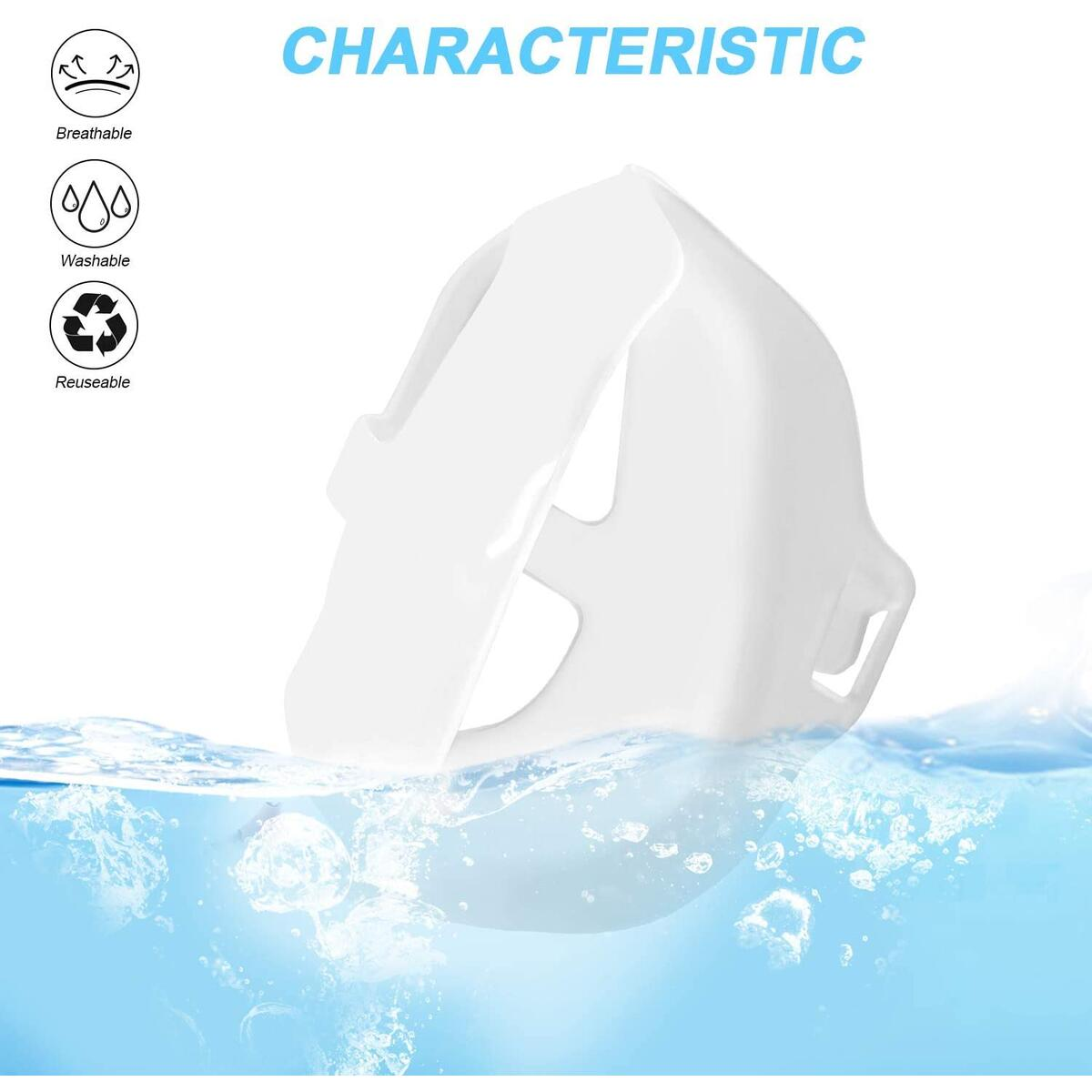 Silicone 3D Mask Bracket Mask Wearing Mask Inner Support Frame DIY Face Accessories Reusable Washable Translucent 5 PCS (White)