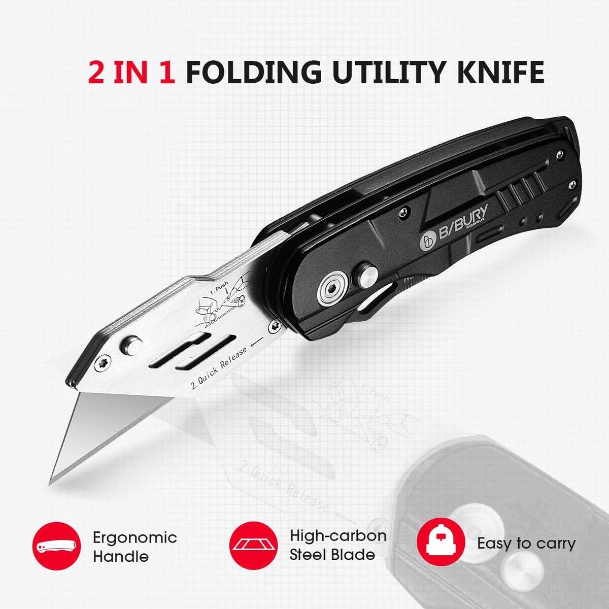 Utility Knife, BIBURY Multipurpose Carpet Knife, Double Cutter Head,Box Cutter with 10 Replaceable SK5 Stainless Steel Blades, Belt Clip,Quick Change and Safely Lock-Back Design (black)