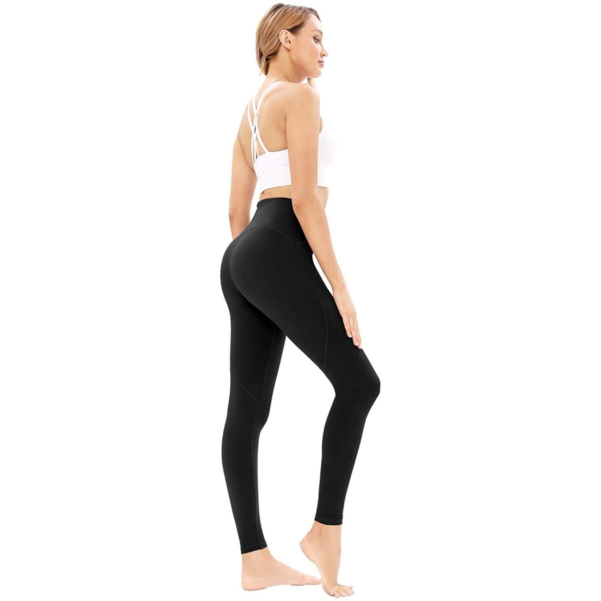 Davenil High Waist Workout Pants for Women with 3 Pockets Water Resistant Yoga Leggings Running Fitness Tummy Control